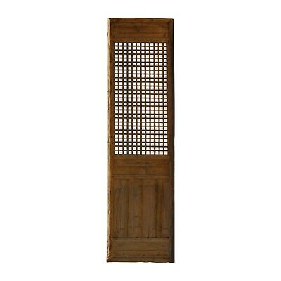 Chinese Old Rustic Bold Geometric Open Pattern Wall Tall Panel Divider cs5257
