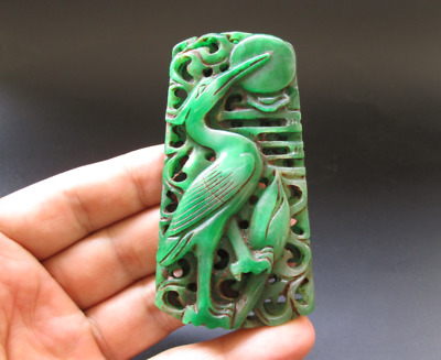 Old China,jade,noble collection,carved,Jadeite,lotus&crane,pendant Y7687