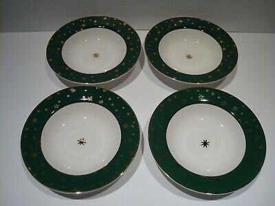 "Set of 4 Galaxy Holiday Christmas Dinnerware Sakura 8.5"" Soup Bowls Green & Gold"