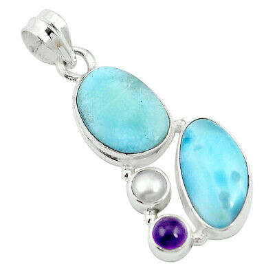 925 Sterling Silver Natural Blue Larimar Amethyst Pendant Jewelry M60558
