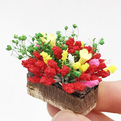 1/12 Dollhouse miniature plant multicolor flower with wood pot 'garden accessory