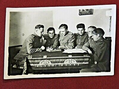 Soviet soldiers in uniform playing chess ancient real photo USSR Soviet Russia