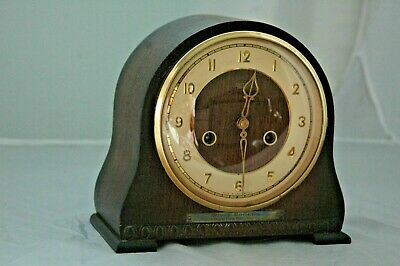 Antique/Vintage Smiths Oak Case Mantle Clock With Key & Pendulum.1954.
