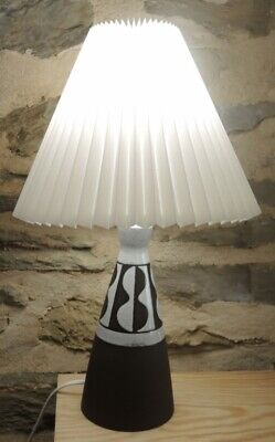 Vintage Mid Century Danish Pottery Lamp Conical Design signed Henne