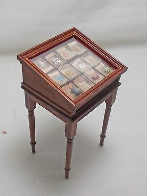 Dolls House miniature handmade museum / collector's Bird's Egg Display Table