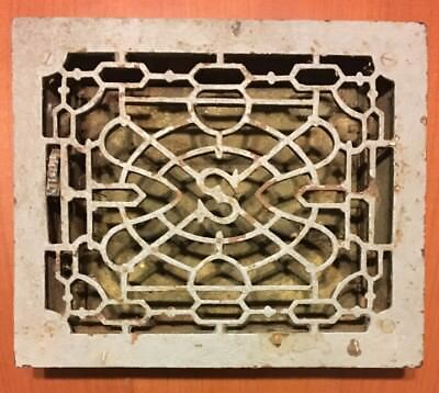 Antique Cast Iron Victorian Floor Register Grate W/ Louvers Fits 10 1/4 X 8 1/4