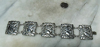 Antique Art Nouveau Sterling Silver Heavy  Very Rare Floral Bracelet