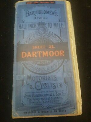 Antique Bartholomew,S Map Of Dartmoor Devon England For Motorists And Cycliists