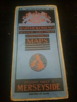 Antique Bartholomew,S Map Of Merseyside Liverpool Area England