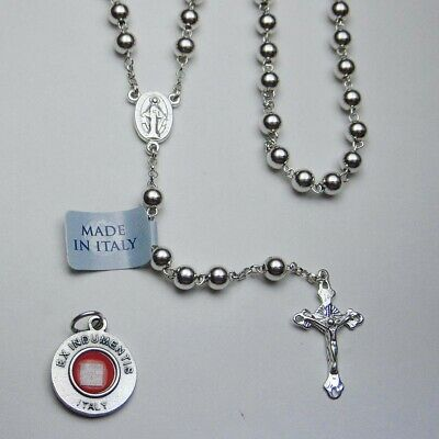 Sterling Silver Rosary - Made in Italy - Bonus St Anthony Relic Medal