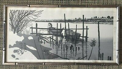 Genuine Original Signed Framed Japanese Woodblock Print GIHACHIRO OKUYAMA