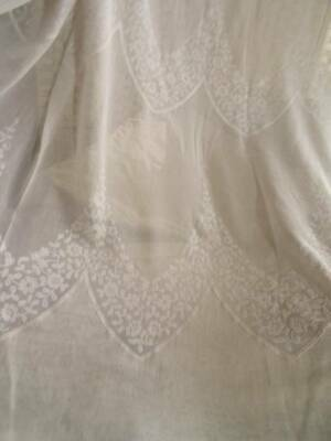Fabulous Pair Of Vintage/Antique French Voile Embroidered Chateau Curtains