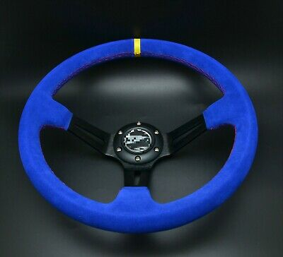 Universal Steering Wheel 350 mm SUEDE DEEP DISH High Quality BLUE for OMP MOMO