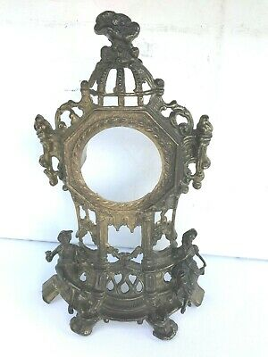 """FABULOUS ANTIQUE FRENCH BRASS CLOCK SURROUND CASE FACE ROCOCO STYLE 14x9.5x3.5"""""""