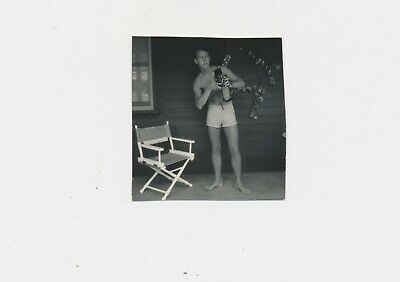 1960 Bare Chest & Shorts Young Photographer w Twin Lens Camera Self Portrait