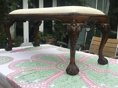 Antique Chippendale Ball&claw Footed Uphostered Mahogany Foot Stool ,stool