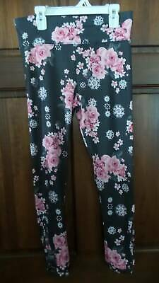 NWT JUSTICE Gray pink floral leggings Ladder cut-out Full length Girl 14 16 PLUS