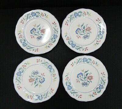 """Set of 4 Villeroy & Boch 'Delia' White Floral 8.25"""" Salad Plates Made in Germany"""