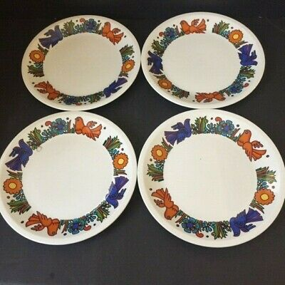 """SET of 4 VILLEROY & BOCH china ACAPULCO pattern Bread Plate 6 1/2"""" MCM"""