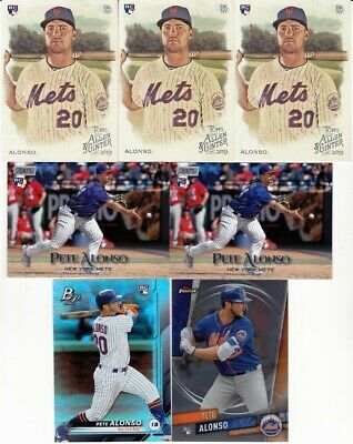 Pete Alonso 7 Card Rookie Lot! 2019 A&G, Stadium Club, Finest! New York Mets!1