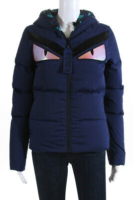 e9e28543 FENDI WOMENS REVERSIBLE Holographic Monster Eyes Quilted Down Jacket Blue  Size 2