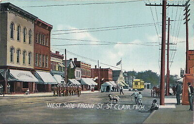 SE St Clair MI c.1907 GREAT View Downtown Stores Businesses & THE INTERURBAN TOO