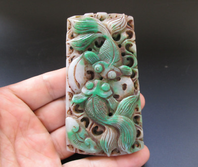 Old China,jade,noble collection,Hand-carved,Jadeite,goldfish,pendant Y7695