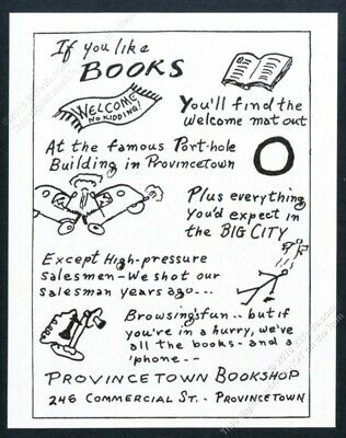 1952 Provincetown Bookshop book store Massachusetts illustrated vintage print ad
