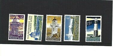 Mint 1969 Nz New Zealand Government Life Insurance Lighthouses Stamp Set 5 Muh