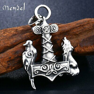 MENDEL Norse Viking Odin Crow Raven Fenrir Wolf Pendant Necklace Stainless Steel