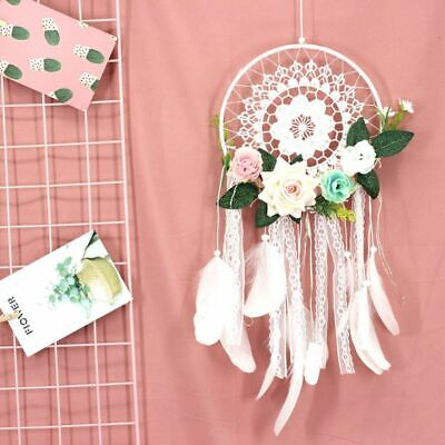 Dream Catcher with Flower Feather LED Light Wall Car Bedroom Decor Ornaments