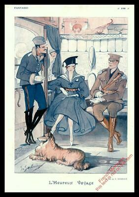 1916 ORIGINAL FRENCH VINTAGE PRINT Soldiers / Cherub / Dog / WW1 SESBOUE F1082