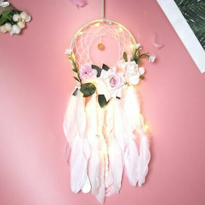 Dream Catcher Flower Feather LED Light Wall Car Home Decor Hanging Ornament