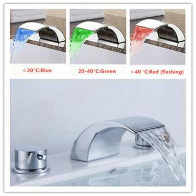 LED Wide-Spread Bathroom Tub Sink Faucet Dual Handles Mix Hot and Cold Water