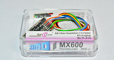 Zimo MX600 kleiner Digitaldecoder Decoder DCC, Kabelversion. NEU in OVP MX 600