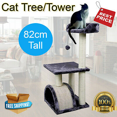 Cat Tree Scratching Pad and Perch Kitten Scratch Tower Post Furniture Grey 82cm