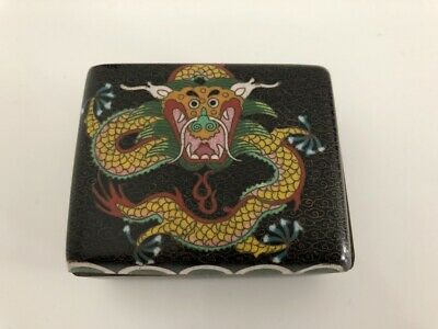 ANTIQUE CHINESE CLOISONNE ENAMEL JEWELRY BOX DRAGON 19thC