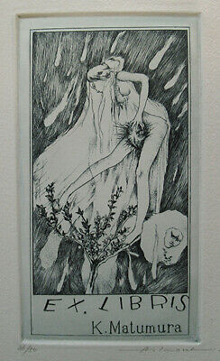 Alphonse Inoue signed etching ex libris book plate limited 50 copies