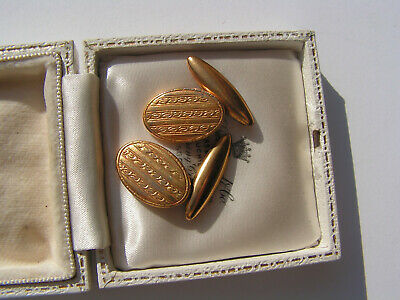 Lovely Pair Of Vintage Art Deco Gilt Gents Cuff Links