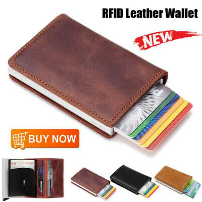Leather Credit Card Holder Money cash Wallet Mens Clip RFID Blocking Purse