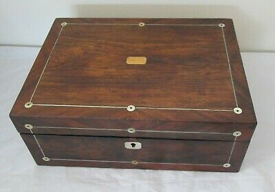A Late 19th Century Mahogany Jewellery Box with Mother of Pearl Inlay
