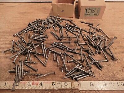 antique wood screws flat head slotted fastener 1 3/4 ins. x # 8 vintage box lot
