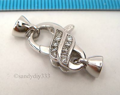 1x  Rhodium plated STERLING SILVER CZ BEADING CORD END CAP CONNECTOR CLASP #2357