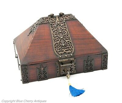 Antique Indian Mahogany Wood & Brass Kerala Dowry / Jewellery Box