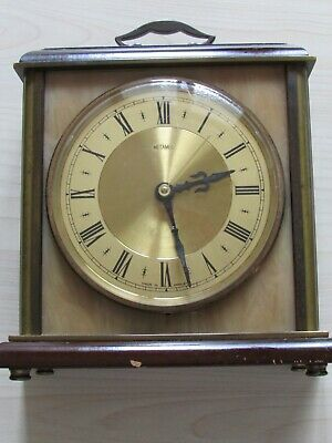 Vintage Metamec Mantel Clock - Quartz Movement - Brass & Wood - Made In England