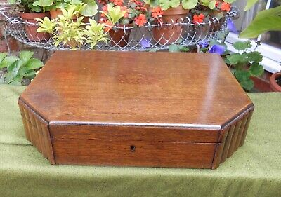 1930s ART DECO OAK CUTLERY CABINET~BOX WITH FITTED VELVET & SATIN INTERIOR