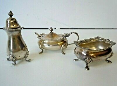 Charming Vintage Silver Plate 3 Piece Small Cruet Set Poston Products Chester