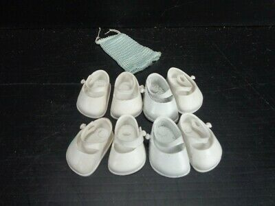 Vintage 1958 VOGUE Baby Sister GINNETTE 4 PAIR WHITE SHOES & 1 SOCK