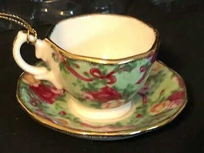Royal Albert Old Country Roses RUBY CELEBRATION Tea Cup & Saucer Ornament NIB