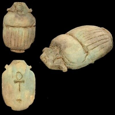 Beautiful Ancient Egyptian Scarab Amulet 300 Bc (23)